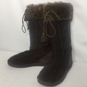 L.L. Bean knit suede boots size US 7 new brown